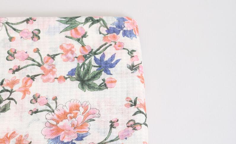 Foulard met bloemenprint gebroken wit