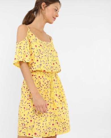 Soepele jurk met peekaboomouwen geel