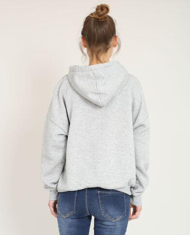 Sweater met kap gemêleerd grijs
