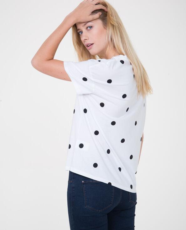 T-shirt met bolletjes ecru