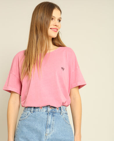 Cropped top à manches courtes rose