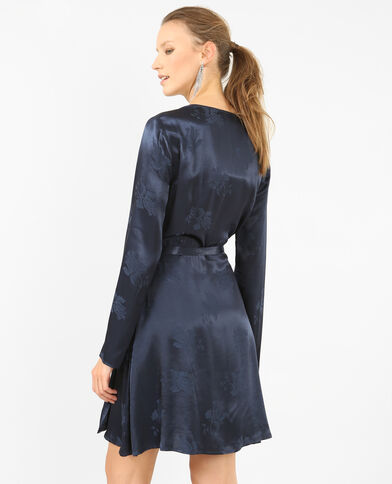 Robe portefeuille satinée bleu marine