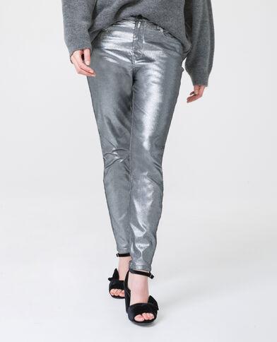 Skinny taille haute gris argenté