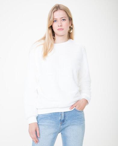 Sweater van imitatiebont gebroken wit