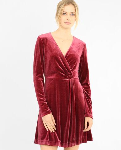 Cache-cœur jurk met velourseffect granaatrood