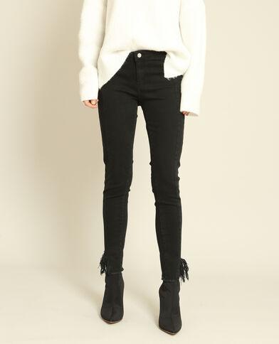 Pantalon skinny à franges noir