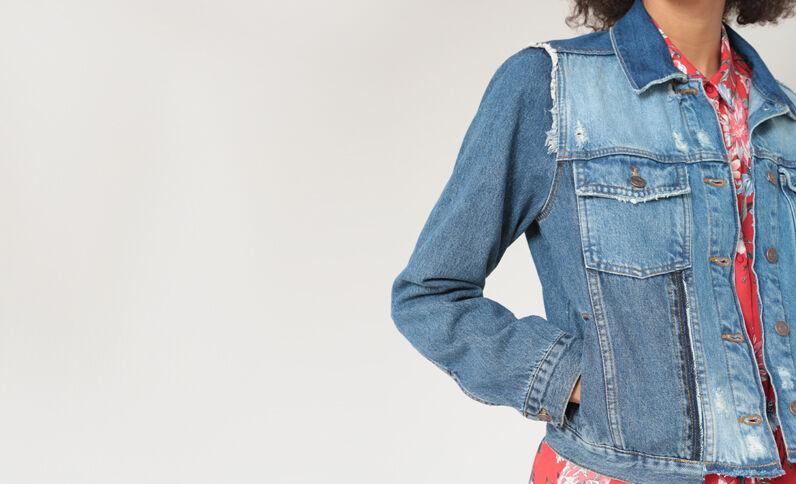 Jeansjasje met destroyed effect denimblauw