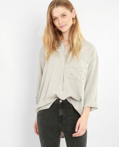 XL-hemd met parels grijs