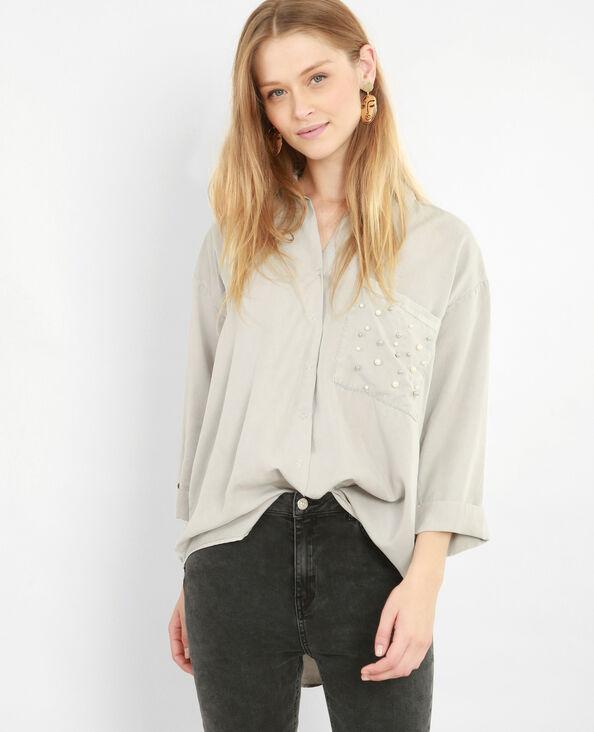 Chemise XL à perles gris