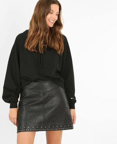 Korte sweater met kap zwart