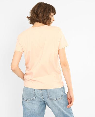 Geborduurd T-shirt roze