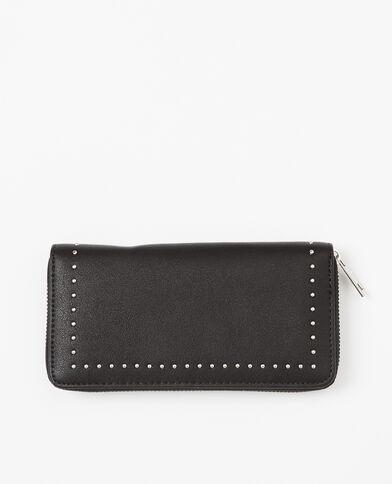 Lange portefeuille met studs zwart