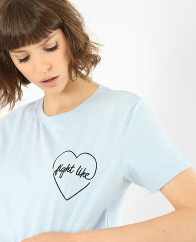 Geborduurd T-shirt hemelsblauw