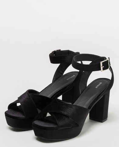 Sandales à plateau velours noir