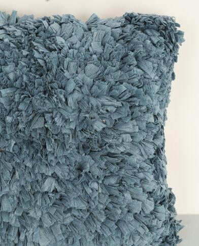 Grand coussin à franges bleu