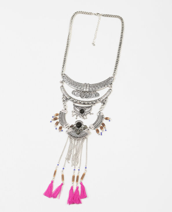 Brede halsketting met pompons goudkleurig