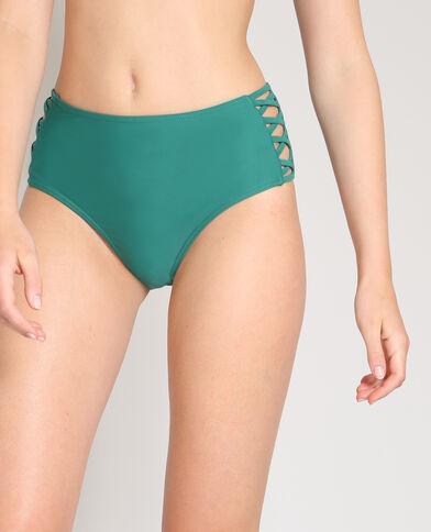Bikinislip met hoge taille dennengroen