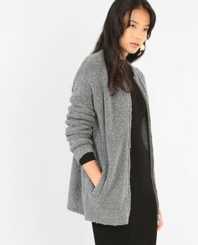 Lange blazer met rits grijs