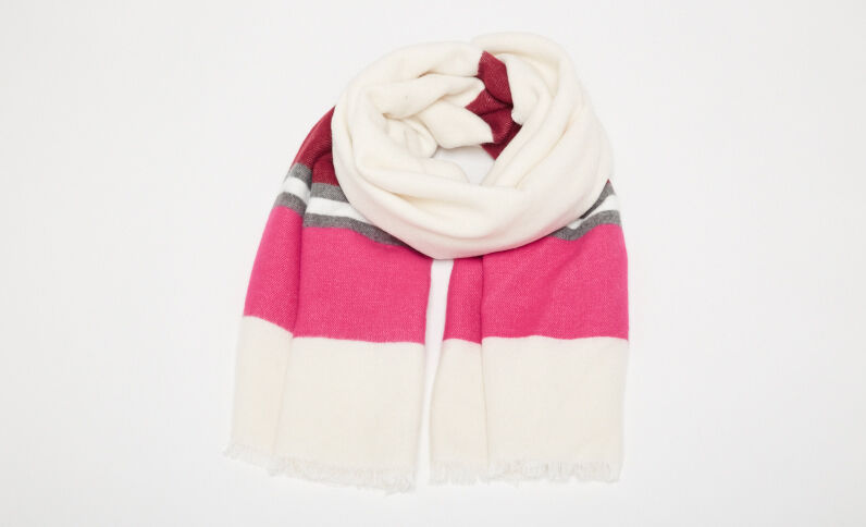 Lange sjaal met banden wit