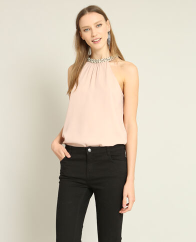 Top col bijoux rose pâle