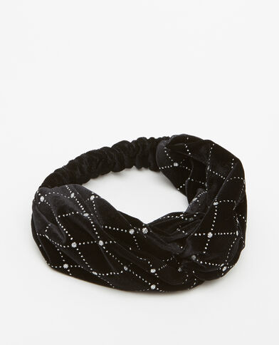 Headband velours pailleté noir