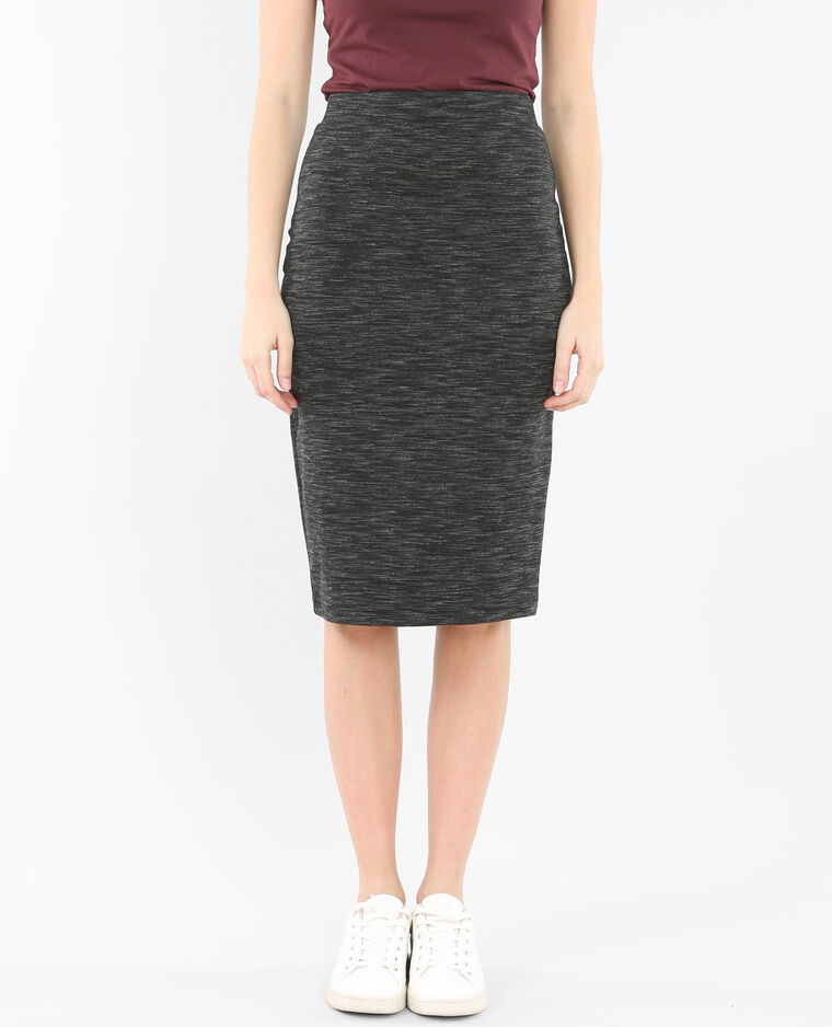 Jupe midi bodycon gris chiné