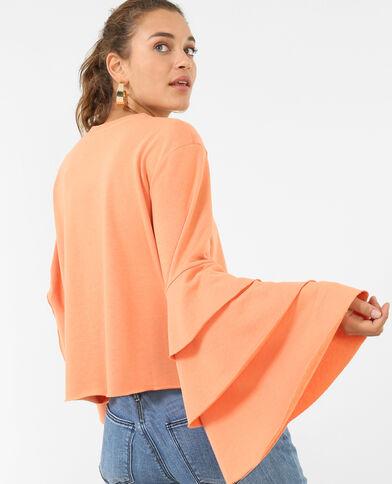 Sweater met ruches oranje