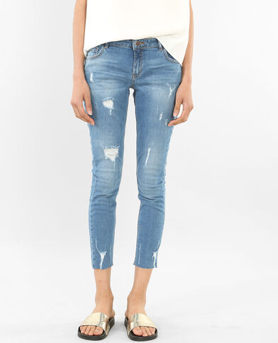 Destroyed 7/8-skinny jeans blauw
