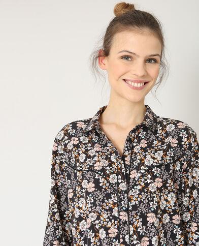 Hemd met bloemenprint zwart