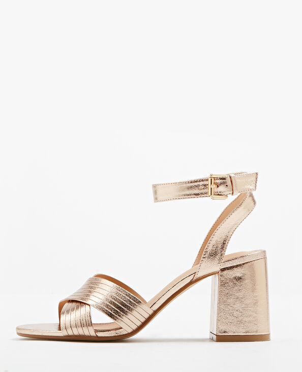 Sandalen met vierkante hakken koperrood