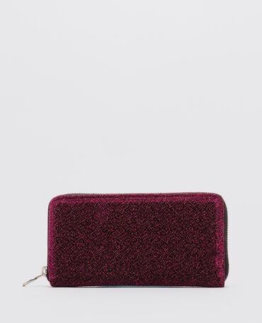 Lange portefeuille met glitter rood