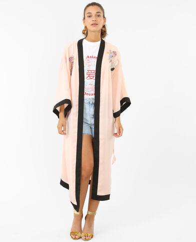 Lange satijnen kimono roze