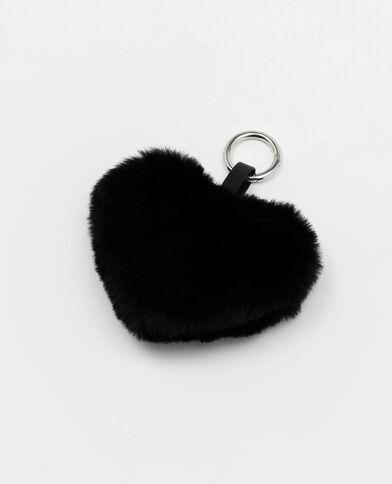 Hartvormige sleutelhanger zwart