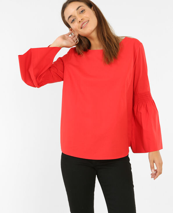 Blouse à manches pagode rouge
