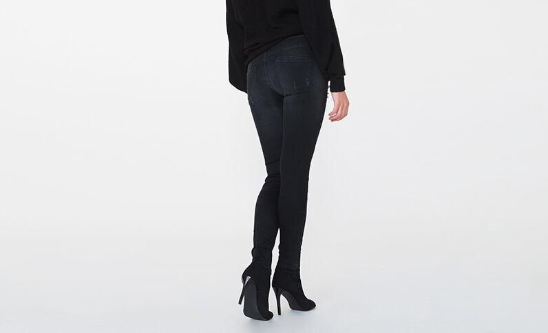 Skinny met middelhoge taille en parels zwart