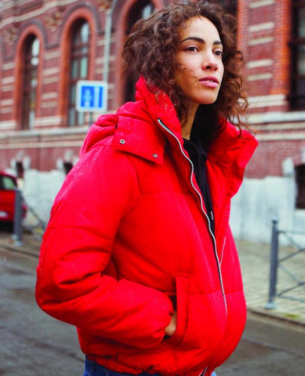 Oversized donsjas rood