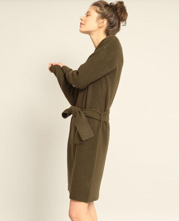 Robe pull ceinturée kaki