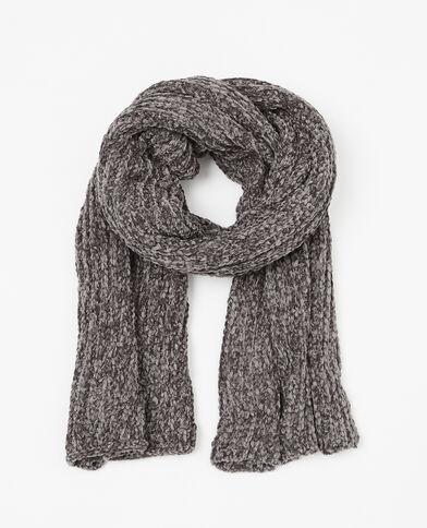 Sjaal van chenilletricot zwart
