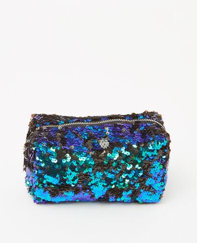 Tweekleurig tasje met pailletten blauw