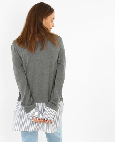 Pull chemise gris clair chiné