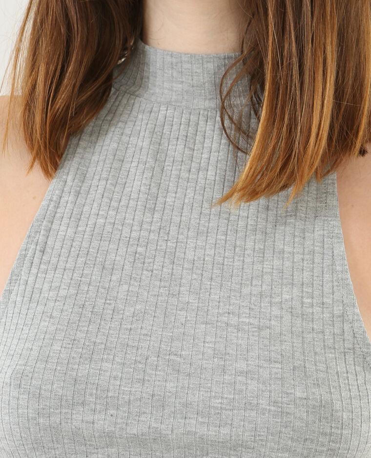 Cropped topje zonder mouwen gemêleerd grijs