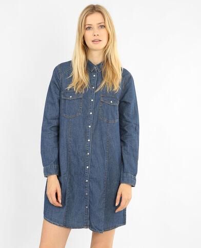 Robe chemise jean bleu