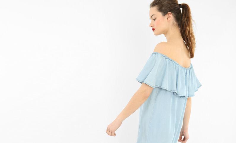 Robe volant bardot bleu clair
