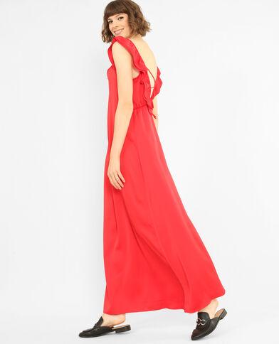 Robe longue satinée rouge