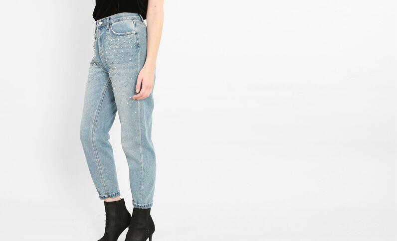 Mom jeans met parels blauw