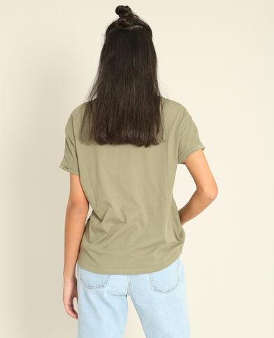 T-shirt met borduursels kaki