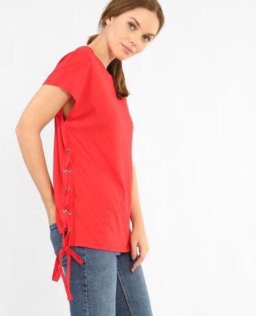T-shirt à lacets rouge