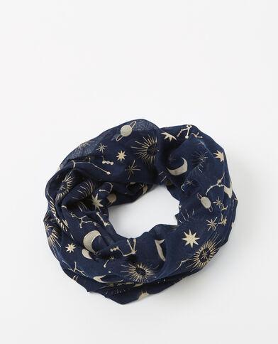 Foulard col imprimé bleu marine