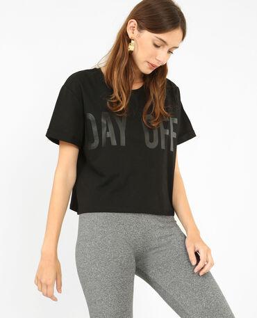 Kort T-shirt met opschrift zwart