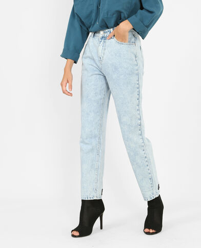 Mom jeans met opschrift Lichtblauw